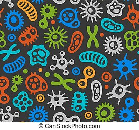 Microbes, Virus and Bacteria Color Seamless Pattern. Vector...