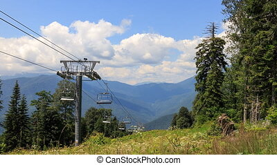 Cable lift in the summer. TimeLapse. Plateau Laura, Sochi,...