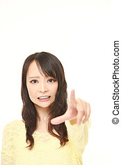 young Japanese woman shocked
