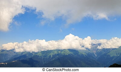 Clouds over the mountain ridge. Time Lapse. Krasnaya...