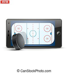 Mobile phone with ice hockey puck and field on the screen....