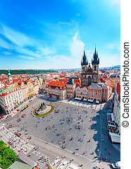 Old Town Square in Prague with Tyn church from Clock Tower....