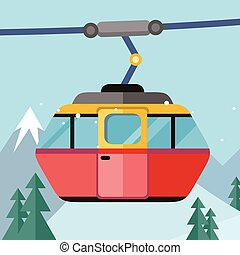 Cable Car Vector Illustration in Flat Design