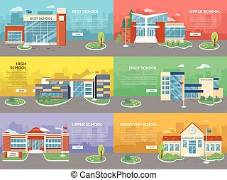 Set of School Buildings. Architectural Variations