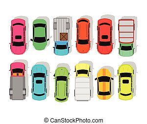 Multicolor Cars Isolated on White. City Parking - Multicolor...