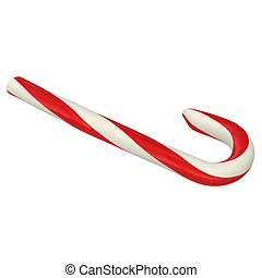 traditional Christmas candy cane, 3d illustration