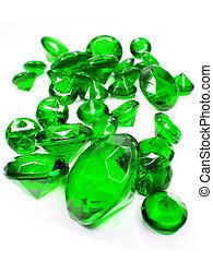 green emerald gem stones crystals