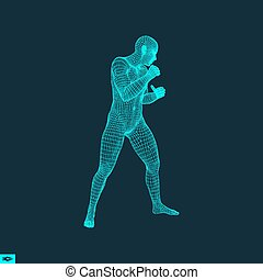 Boxer. Fighting Man. 3D Model of Man. Sport Symbol. - Boxer....