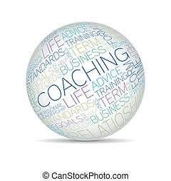 Coaching concept related words in sphere tag cloud