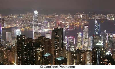 Time Lapse Hong Kong skyline from famous Peak View at night...