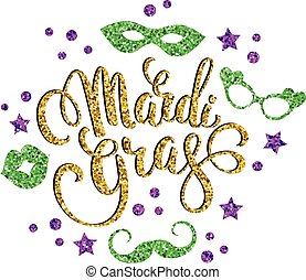 Mardi Gras. Glittering lettering design for Banners, Flyers,...