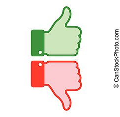 Set of colorful red green thumb up icons, business web thumb...