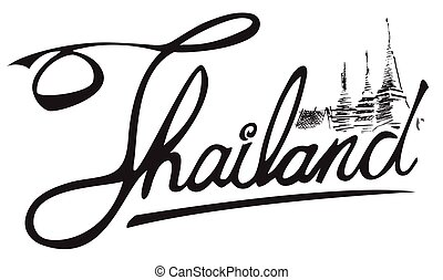 Thailand and temple symbol freehand illustration art line...