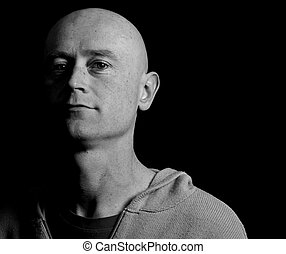 portrait male shaved head close up - photo portrait male...