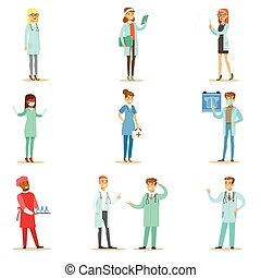 Doctors With Different Specializations Wearing Medical...