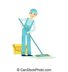 Man With Bucket nd Mop Washing The Floor, Cleaning Service Professional Cleaner In Uniform Cleaning In The Household
