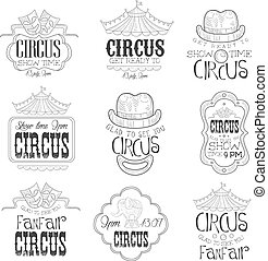 Set Of Hand Drawn Monochrome Circus Show Promotion Signs In...