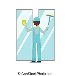Man With Sponge And Squeegee Washing Windows, Cleaning...