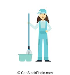Girl With Mop Washing The Floor, Cleaning Service Professional Cleaner In Uniform Cleaning In The Household