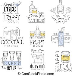 Cocktail Bar Happy Hour Promotion Sign Design Template Set...