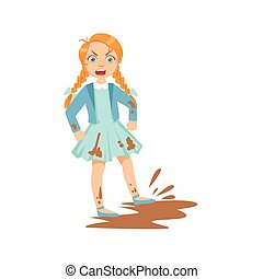 Girl Doing Splash In Mud Puddle Teenage Bully Demonstrating Mischievous Uncontrollable Delinquent Behavior Cartoon Illustration