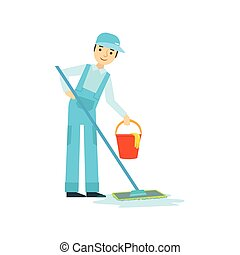 Man With Mop And Bucket Washing The Floor, Cleaning Service Professional Cleaner In Uniform Cleaning In The Household