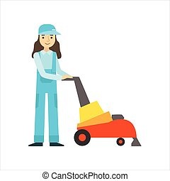Womoan Using High-Tech Hoover, Cleaning Service Professional...