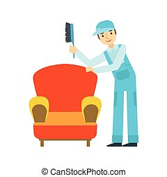 Man Dusting Armchair With Brush, Cleaning Service Professional Cleaner In Uniform Cleaning In The Household