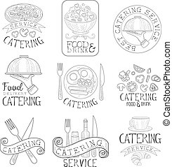 Best Quality Catering Service Set Of Hand Drawn Black And...