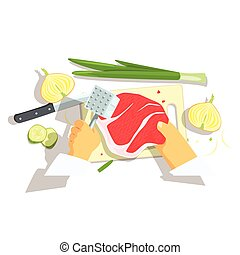 Hands Of Professional Cook Cutting Ingredients For Pork Chop With Onions Cooking