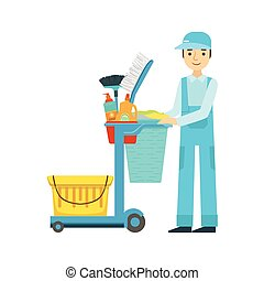 Man With Cart Filled With Special Equipment And Tools,...