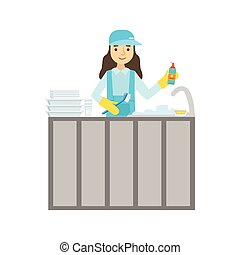 Girl Washing Dishes In The Tap, Cleaning Service Professional Cleaner In Uniform Cleaning In The Household