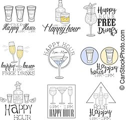 Cocktail Bar Happy Hour Promotion Sign Design Template...