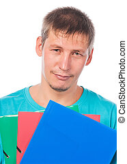 Young man with a lot of paper folders