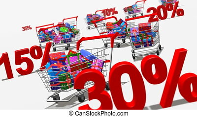 Discount concept - Shopping carts full of presents