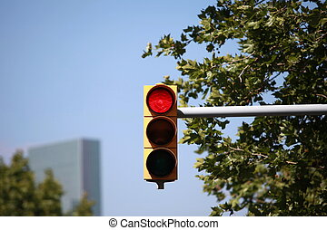 red traffic light intersection - Red traffic light on the...