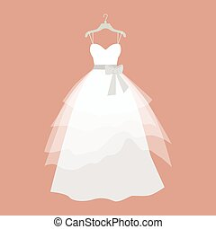 Wedding Dress Vector Illustration in Flat Design