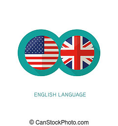 English Language icon USA UK flags