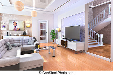 Modern living room with wood floor. 3d illustration