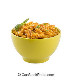 Fresh pasta with tomato sauce and basil leaves, close up, isolated, clipping path, white background.