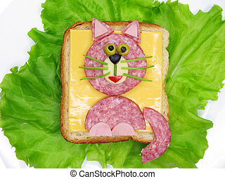 creative vegetable sandwich with cheese and ham - creative...