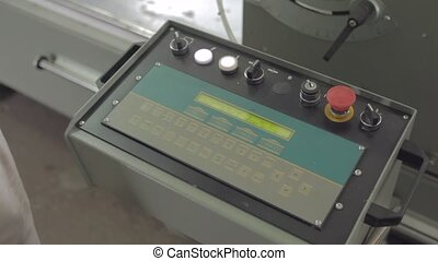 cnc console operating with man's hands