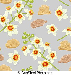 Frankincense seamless pattern. Boswellia tree flowers. -...