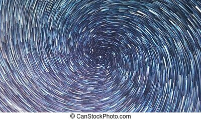 Stars in the sky like meteors in screw spiral. Time Lapse....
