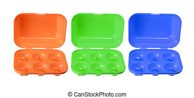 Toy Egg Cartons on White Background