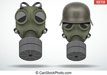 Military german helmet with gas mask - Set of Military gas...