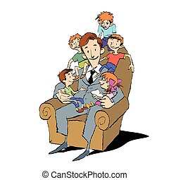 Large family, dad in a chair with children, hand drawn...