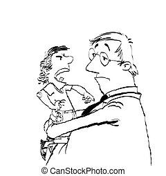 Dad and a spoiled child, hand drawn vector illustration. The...