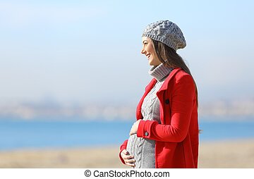 Pregnant woman taking a walk on the beach - Side view...