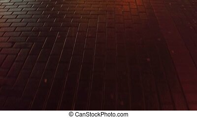 Urban pavement at night close up 4K steadicam video - Urban...